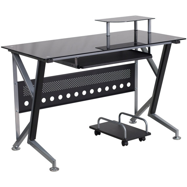 """Flash Furniture NAN-WK-059-GG Black Glass Desk with Pull-Out Keyboard Tray and CPU Cart - 47"""" x 28"""" x 30"""""""
