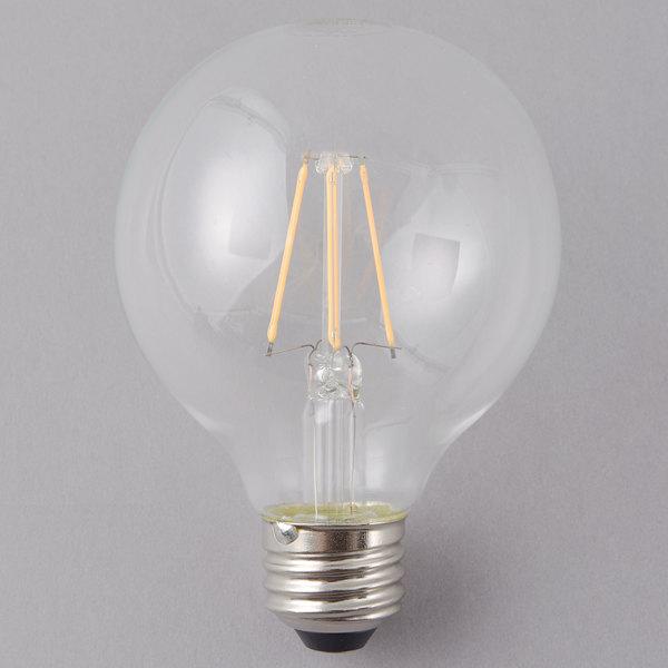 Satco S29563 4.5 Watt (40 Watt Equivalent) Clear Warm White Globe LED Light Bulb - 120V (G25)