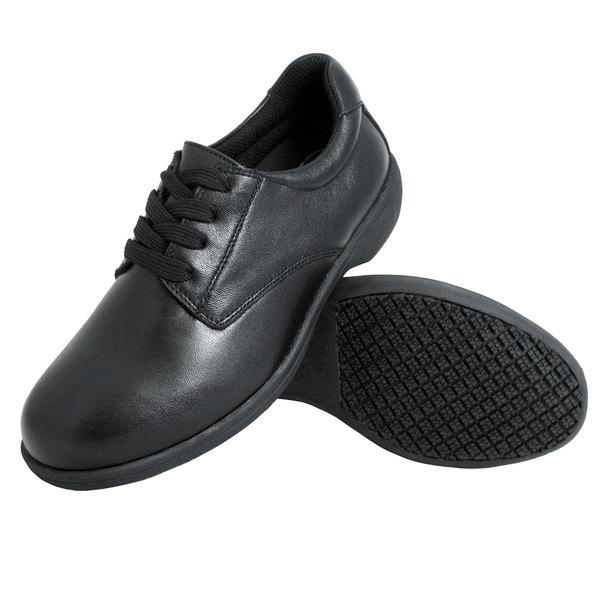 Genuine Grip 420 Women's Size 5.5 Wide Width Black Full Grain Leather Tie Non Slip Shoe
