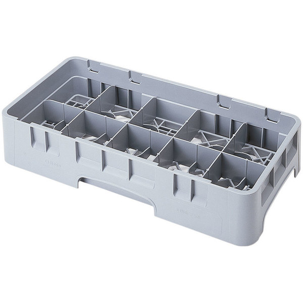 "Cambro 10HC414151 Soft Gray Customizable 10 Compartment Half Size 4 1/4"" Camrack Cup Rack"