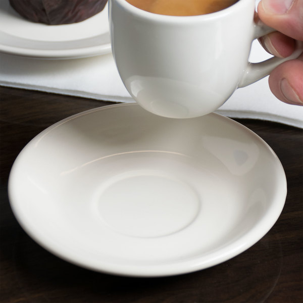 "Choice 4 7/8"" Ivory (American White) Rolled Edge Stoneware Saucer - 36/Case Main Image 2"
