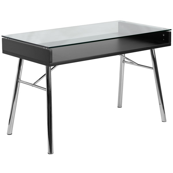 "Flash Furniture NAN-JN-2966-GG Tempered Glass Desk with Chrome Frame - 47"" x 24"" x 30"" Main Image 1"