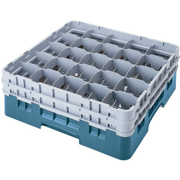 "Cambro 25S434414 Camrack 5 1/4"" High Customizable Teal 25 Compartment Glass Rack"