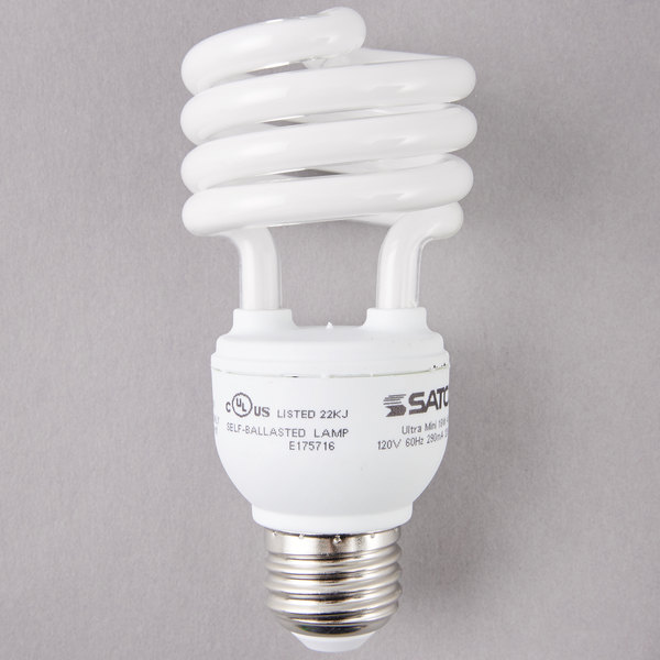 Satco S7225 18 Watt (75 Watt Equivalent) Cool White Mini Spiral Compact Fluorescent Light Bulb - 120V (T2)
