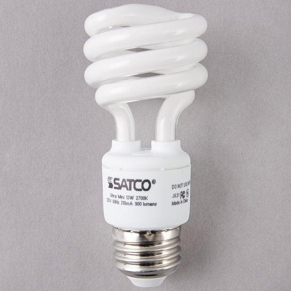 Satco S7217 13 Watt (60 Watt Equivalent) Warm White Mini Spiral Compact Fluorescent Light Bulb - 120V (T2)