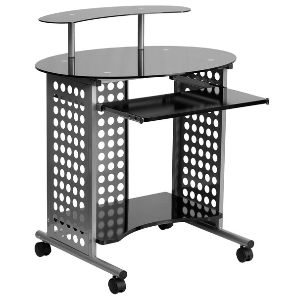 """Flash Furniture NAN-CASSINI-GG Black Tempered Glass Mobile Computer Desk with Monitor Platform and Keyboard Tray - 31"""" x 25"""" x 36"""""""
