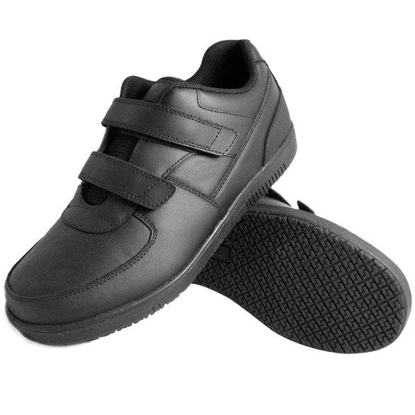 Genuine Grip 230 Women's Size 7 Wide Width Black Leather Hook and Loop Closure Non Slip Shoe