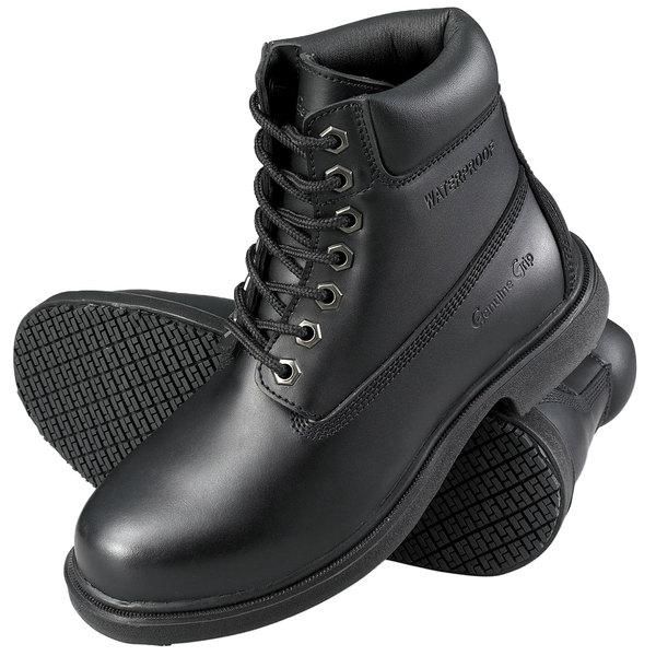Genuine Grip 760 Women's Size 6 Wide Width Black Leather Waterproof Non Slip Boot