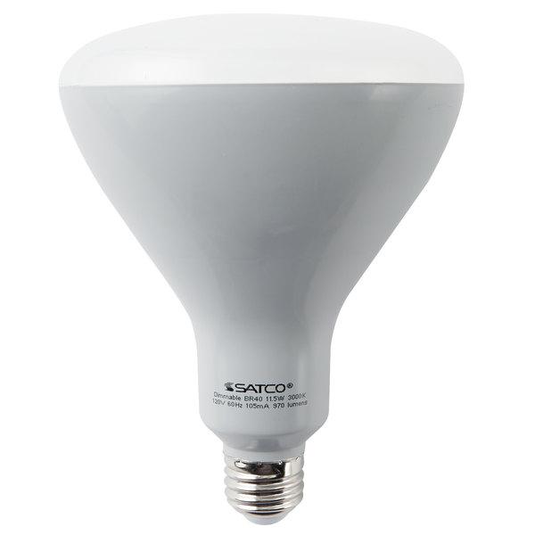 Satco S9635 11.5 Watt (75 Watt Equivalent) Frosted Warm White LED Flood Lamp Reflector Light Bulb - 120V (BR40)