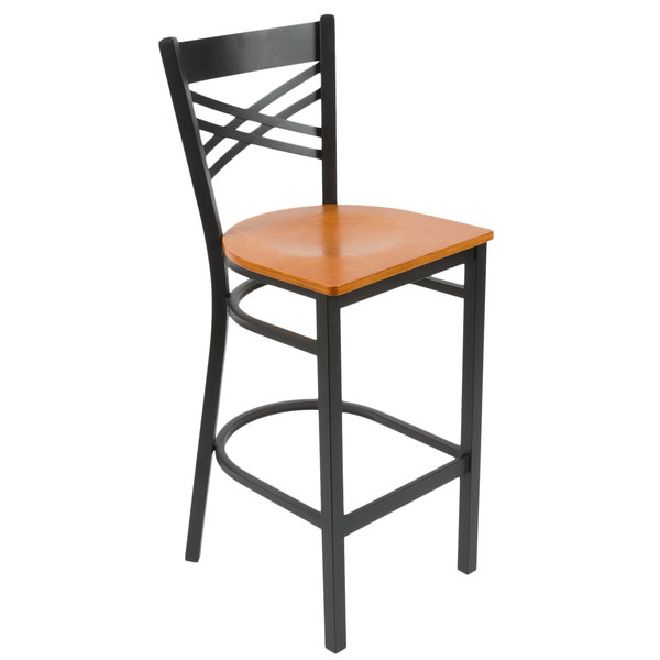 Featuring a durable plywood seat with a versatile cherry finish combined with a contemporary steel frame and trendy cross back design this Lancaster Table ...  sc 1 st  Webstaurant Store & Lancaster Table u0026 Seating Cross Back Bar Height Chair with Cherry ... islam-shia.org