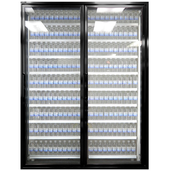 "Styleline CL3080-LT Classic Plus 30"" x 80"" Walk-In Freezer Merchandiser Doors with Shelving - Satin Black, Right Hinge - 2/Set"