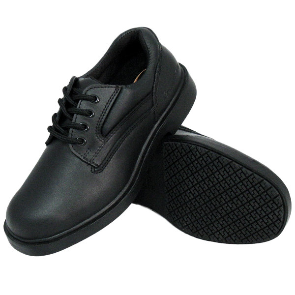 Genuine Grip 720 Women's Size 5 Wide Width Black Leather Comfort Oxford Non Slip Shoe