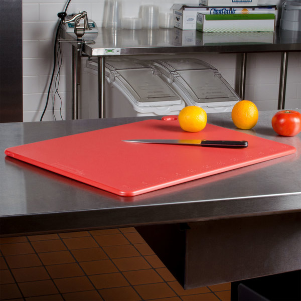 "San Jamar CB182412RD Cut-N-Carry® 24"" x 18"" x 1/2"" Red Cutting Board with Hook Main Image 2"