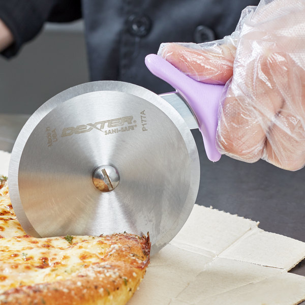 "Dexter-Russell 18023P 4"" Sani-Safe Purple Handle Pizza Cutter Main Image 7"