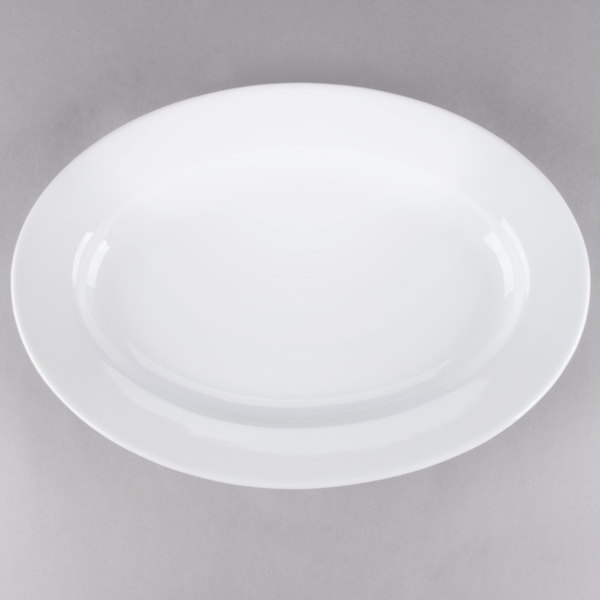 Core 16 inch x 11 1/4 inch Bright White Wide Rim Rolled Edge Oval China Platter - 6/Case