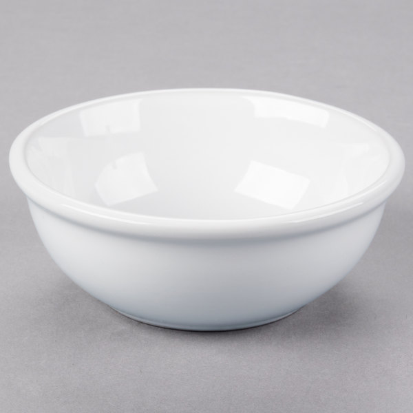 Acopa 10 Oz Bright White Rolled Edge Stoneware Nappie Bowl 36 Case