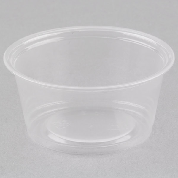 Choice 2 oz. Clear Plastic Souffle Cup / Portion Cup  - 100/Pack