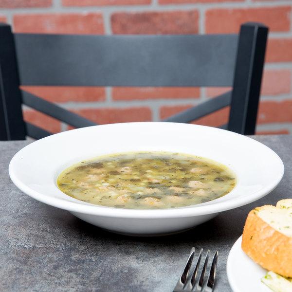 Acopa 10 oz. Bright White Wide Rim Rolled Edge Rim Stoneware Soup and Pasta Bowl - 24/Case Main Image 1