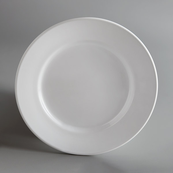 Acopa 7 1/8 inch Bright White Wide Rim Rolled Edge China Plate - 36/Case