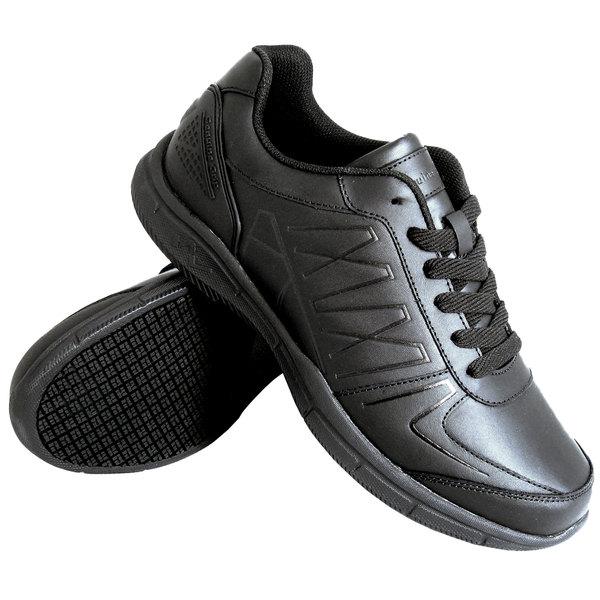 Genuine Grip 1600 Men's Size 7 Medium Width Black Leather Athletic Non Slip Shoe