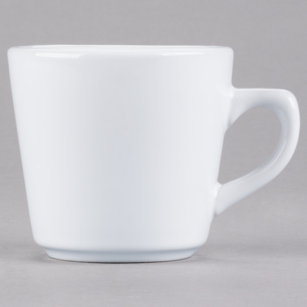 Acopa 7 oz. Bright White Rolled Edge Stoneware Tall Cup - 36/Case