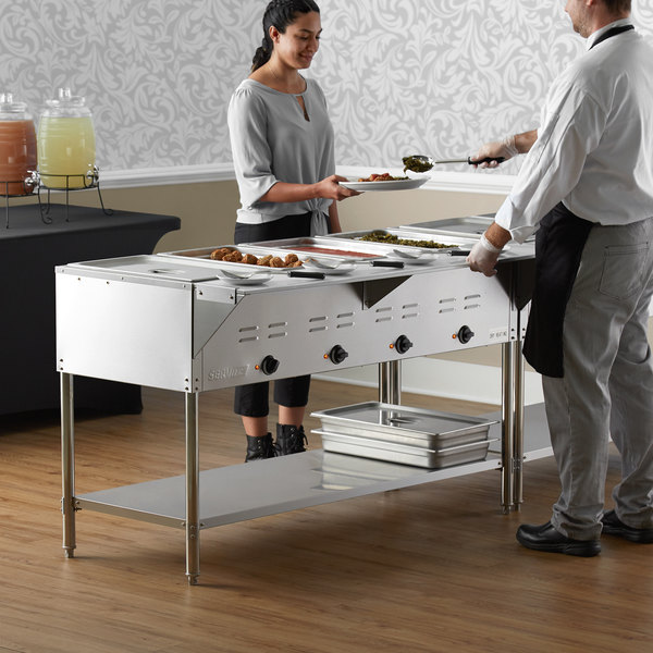 ServIt EST-4WE Four Pan Open Well Electric Steam Table with Undershelf - 120V, 2000W Main Image 6