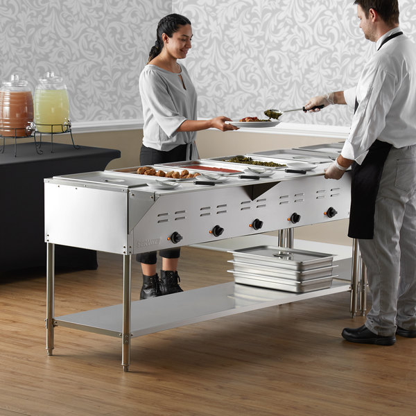 ServIt EST-5WE Five Pan Open Well Electric Steam Table with Undershelf - 208/240V, 3750W Main Image 5