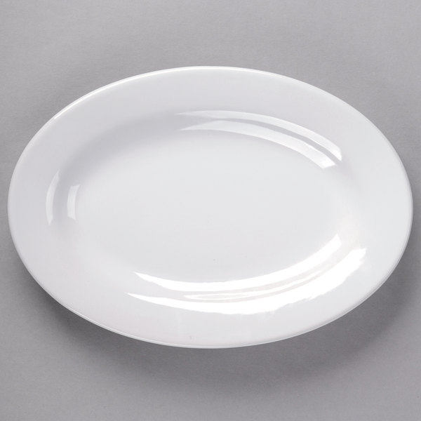 Core 11 5/8 inch x 8 inch Bright White Wide Rim Rolled Edge Oval China Platter  - 12/Case