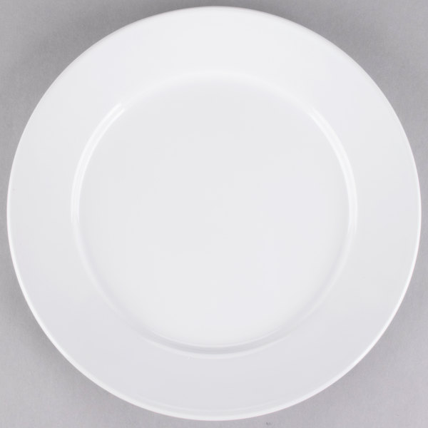 Core 9 5/8 inch Bright White Wide Rim Rolled Edge China Plate  - 24/Case