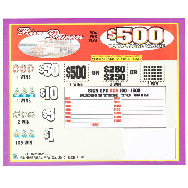 """""""River Queen"""" 5 Window Pull Tab Tickets - 1800 Tickets Per Deal - Total Payout: $675"""