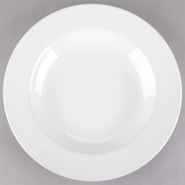 Acopa 16 oz. Bright White Wide Rim Rolled Edge Rim China Soup and Pasta Bowl - 12/Case