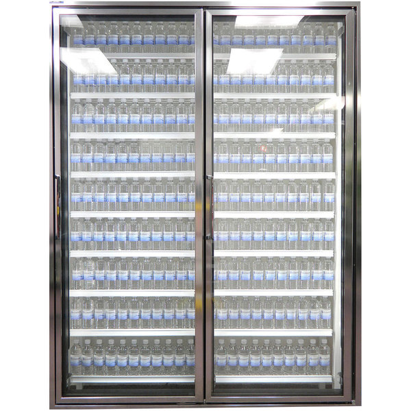 """Styleline CL3080-LT Classic Plus 30"""" x 80"""" Walk-In Freezer Merchandiser Doors with Shelving - Anodized Bright Silver, Right Hinge - 2/Set Main Image 1"""