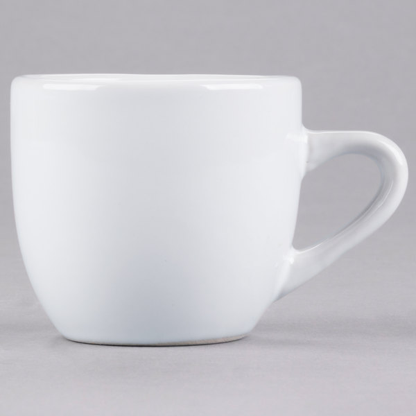 Core 3.5 oz. Bright White Rolled Edge China Tall Cup - 36/Case