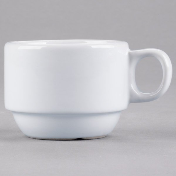 Core 3 oz. Bright White Rolled Edge Stackable China Demi Cup - 36/Case
