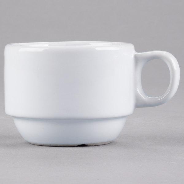 Core 3 oz. Bright White Wide Rim Rolled Edge Stackable China Demi Cup - 36/Case