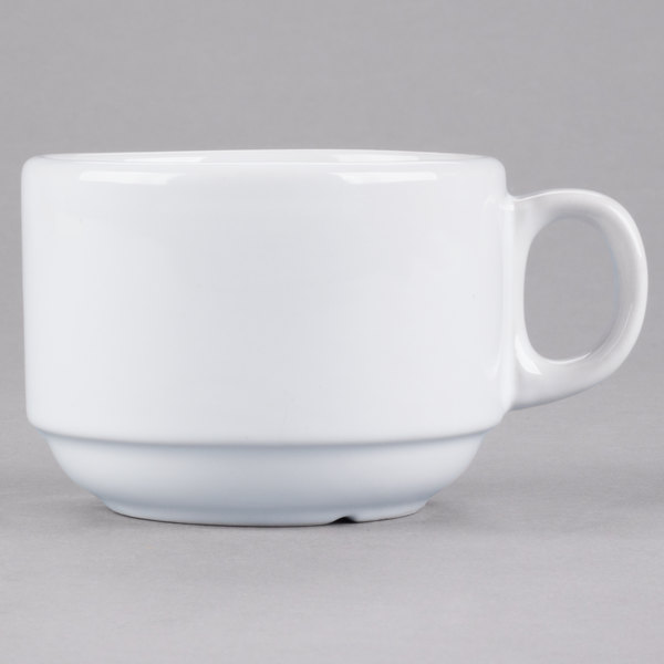 Core 7 oz. Bright White Rolled Edge Stackable China Cup  - 36/Case