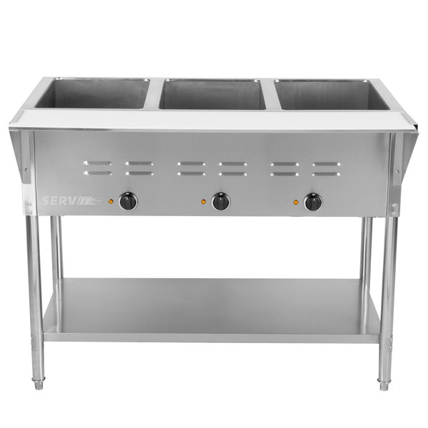 ServIt ESTWE Three Pan Open Well Electric Steam Table With - Three well steam table