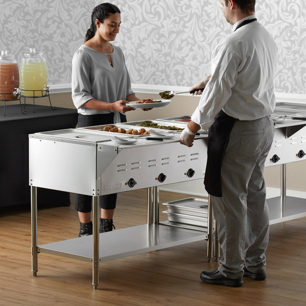 ServIt EST-3WE Three Pan Open Well Electric Steam Table with Undershelf - 120V, 1500W Main Image 6