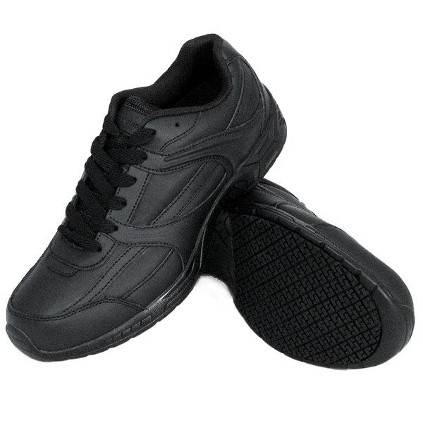 Genuine Grip 1010 Men's Size 10.5 Wide Width Black Leather Athletic Non Slip  Shoe