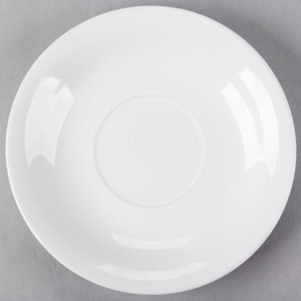 Acopa 6 inch Bright White Rolled Edge Stoneware Saucer - 36/Case