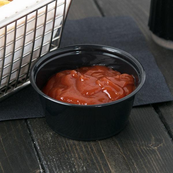 Dart Conex Complements 325PCBLK 3.25 oz. Black Plastic Souffle / Portion Cup - 2500/Case