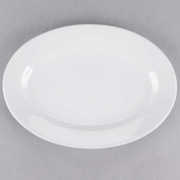 Core 10 3/8 inch x 7 1/8 inch Bright White Wide Rim Rolled Edge Oval China Platter - 24/Case