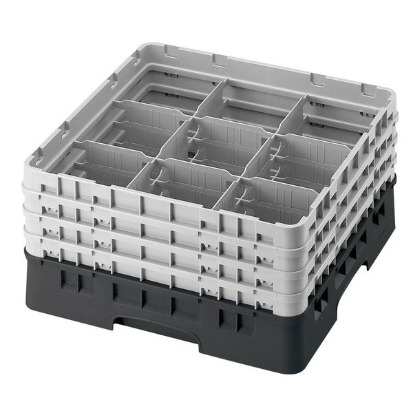 "Cambro 9S800110 Black Camrack Customizable 9 Compartment 8 1/2"" Glass Rack"