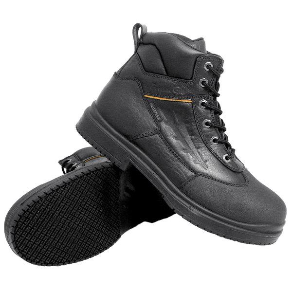 Genuine Grip 7800 Men's Size 10 Wide Width Black Injection Waterproof Steel Toe Non Slip Full Grain Leather Boot