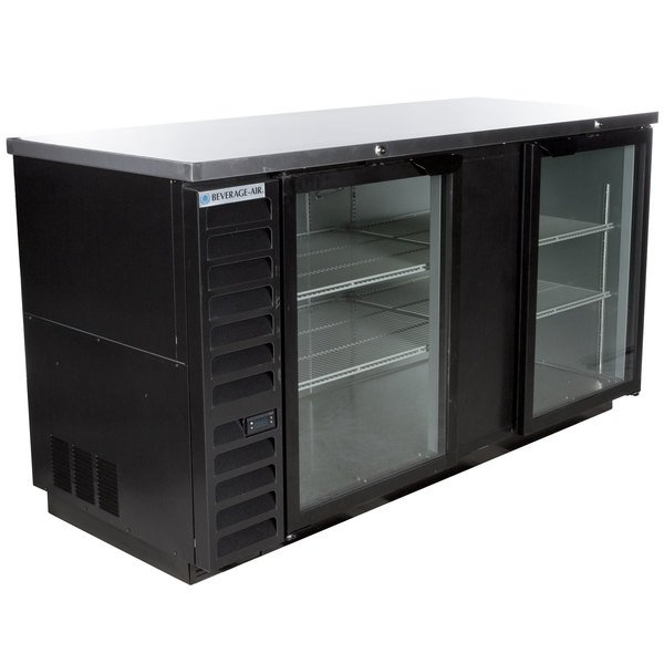 "Beverage-Air BB68HC-1-G-B 69"" Back Bar Refrigerator with 2 Glass Doors 115V"