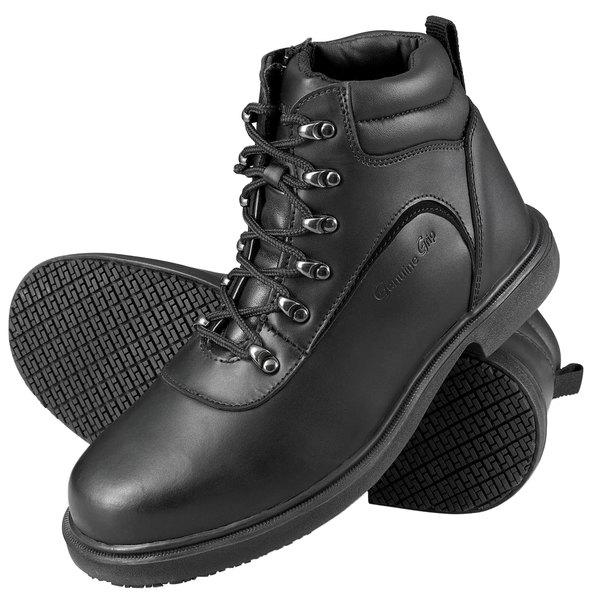 Genuine Grip 7130 Men's Size 12 Wide Width Black Steel Toe Non Slip Leather Boot with Zipper Lock
