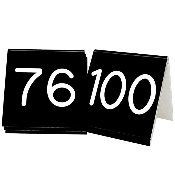 "Cal-Mil 269D-2 Black Engraved Number Tent Sign Set 76-100 - 3"" x 3"" Main Image 1"