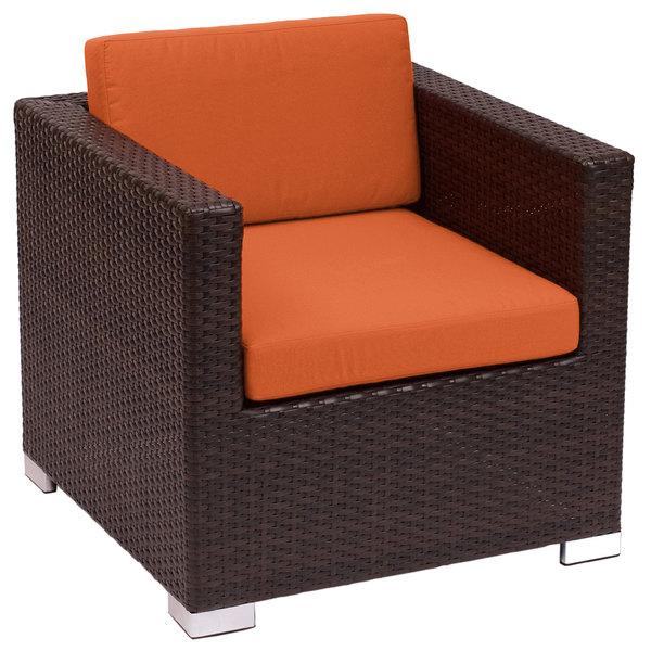 BFM Seating PH5102JV-54010 Aruba Java Wicker Outdoor / Indoor Armchair with Rust Canvas Cushions