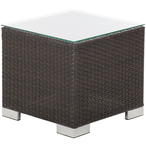 Bfm Seating Ph5105jv Gl Aruba Java Wicker End Table With Tempered Top
