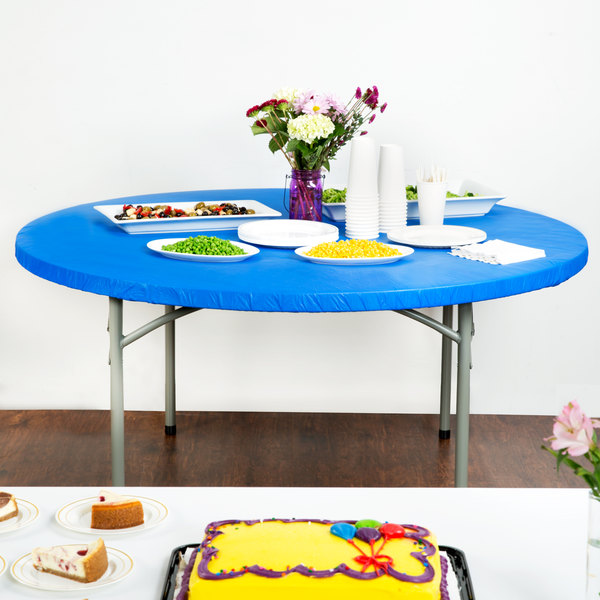"""Creative Converting 37242 Stay Put 60"""" Round Royal Blue Plastic Table Cover"""